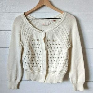 Anthropologie YOON Ivory Cotton Snap Sweater L